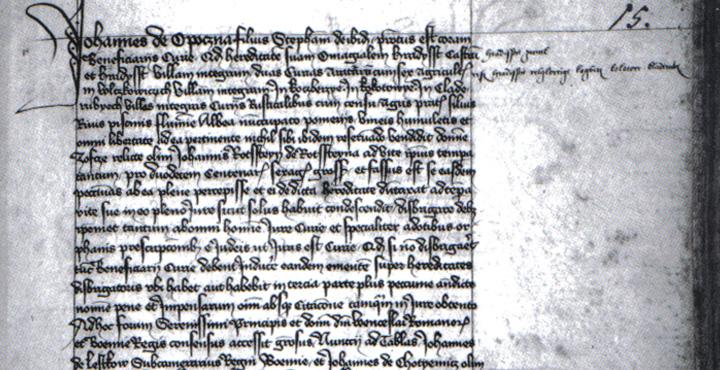 Zápis o kupní smlouvě z roku 1415