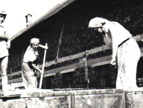 Moravcová Božena s Milanem a Vašáková Milada skládají obilí nad kravín K 96.