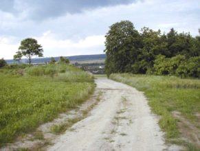 Pohled na sever, ke křížku, v údolí pak Vlčkovice v Podkrkonoší.