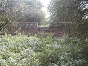 Pohled na nově vybudované gabiony.