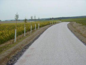 Výsadba zeleně v polovině cesty, pohled na sever.