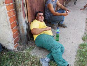 Odpočívající dělník.
