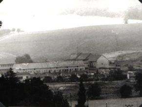 Pohled na středisko mechanizace a živočišné výroby. Zleva : kravín K 96, K 174, teletník, dílna, skladovák. V pozadí se nachází pastviny.