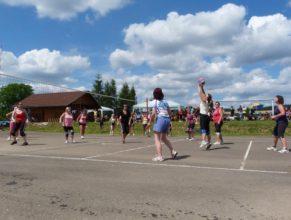 Volejbalistky při zápase.