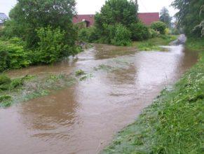 """Rozvodněný potok na """"Malé straně""""."""