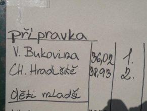 Výsledková listina, Přípravka : 1. Velká Bukovina - 36,02, 2. Choustníkovo Hradiště - 38,93.